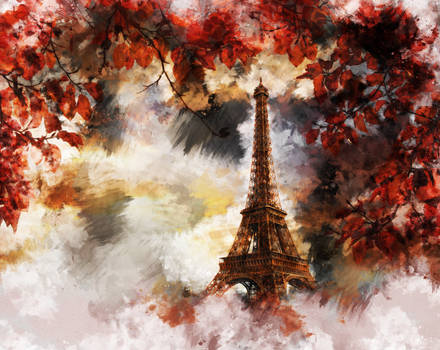 Eiffel Tower with autumn colors in Paris, France