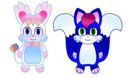 Rainbow bunny and Blue fox sketch