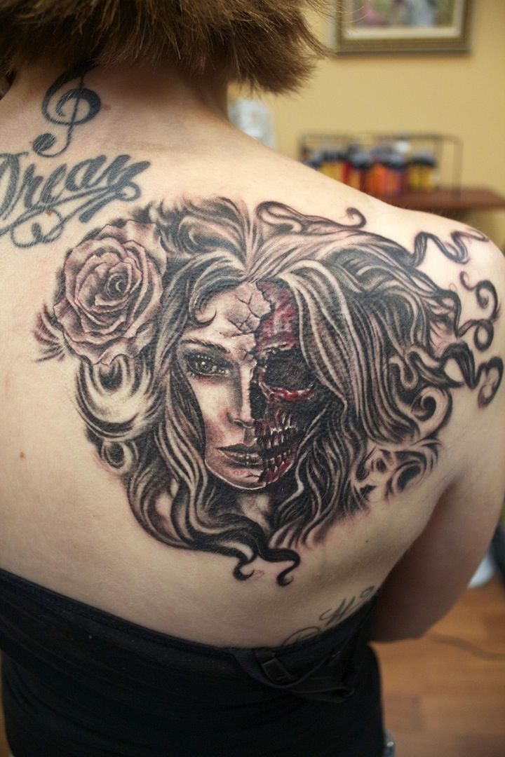 0c0284627ca26 Half Face Lady Tattoo by seanspoison on DeviantArt