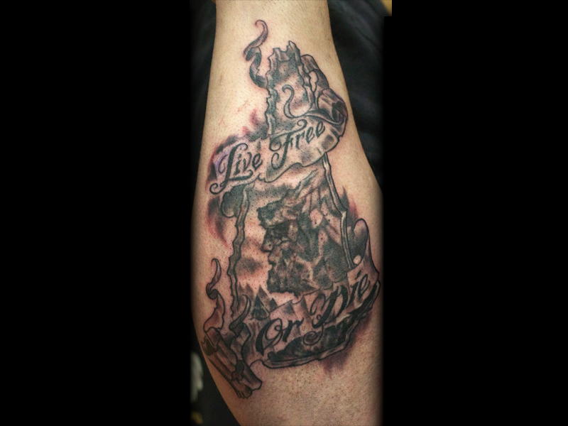Lfod old man in the mountain nh tattoo by seanspoison on for Mountain man tattoo
