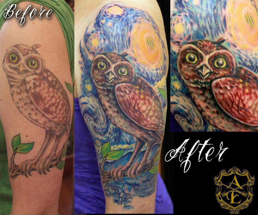 Van Gogh Starry Night Tattoo Starry Night Owl Tattoo