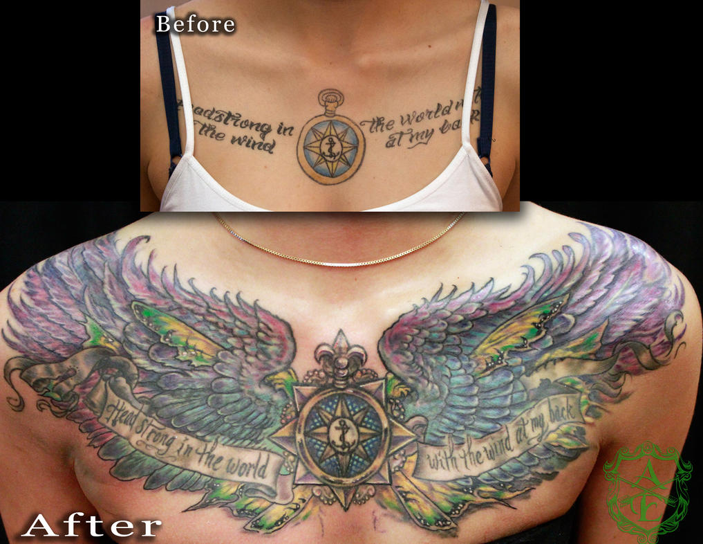 Compass Chest Piece Cover-Up Tattoo By Seanspoison On