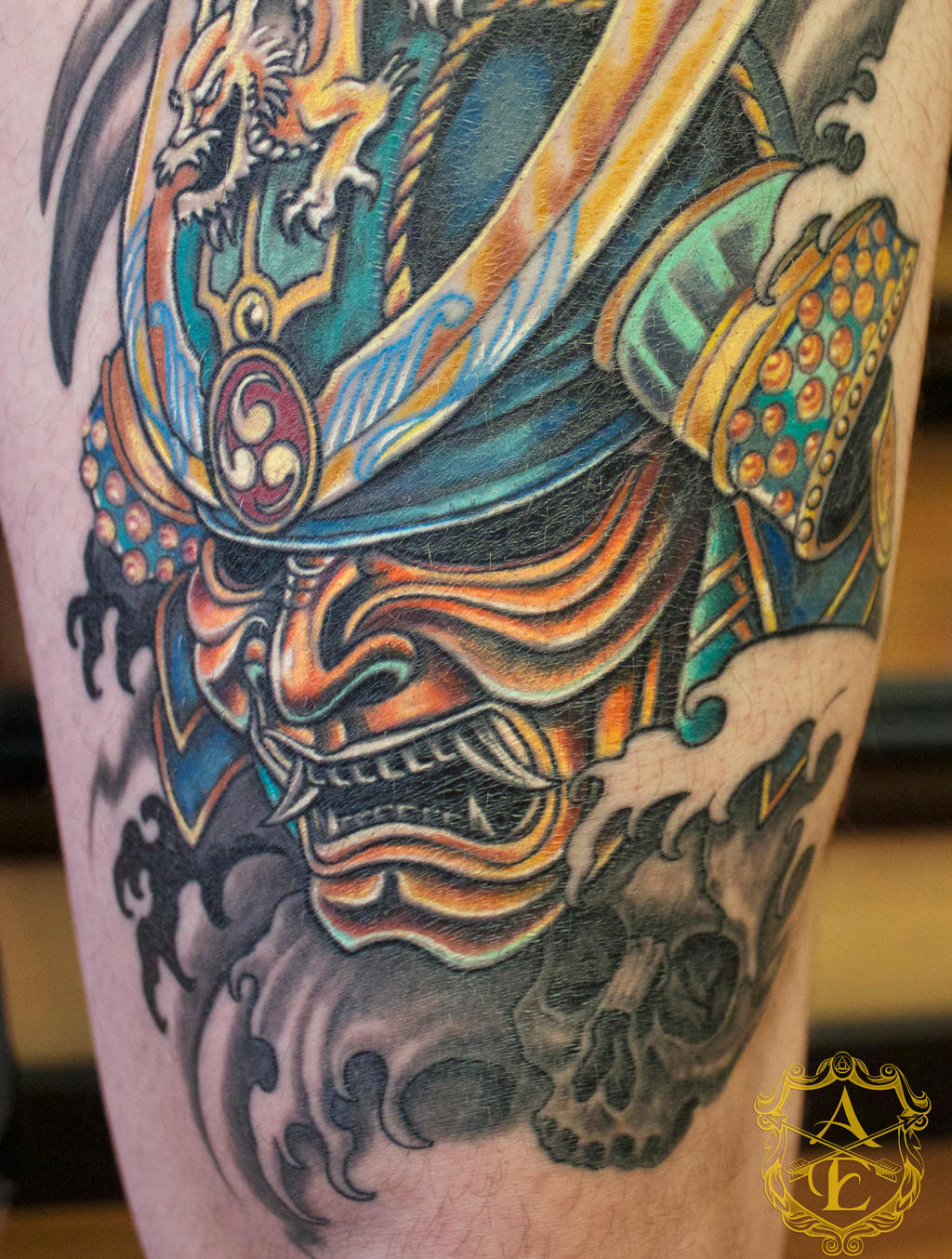 samurai mask tattoo done by sean ambrose by seanspoison on. Black Bedroom Furniture Sets. Home Design Ideas
