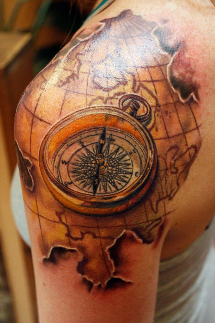 custom map and compass tattoo by sean ambrose by seanspoison on deviantart. Black Bedroom Furniture Sets. Home Design Ideas