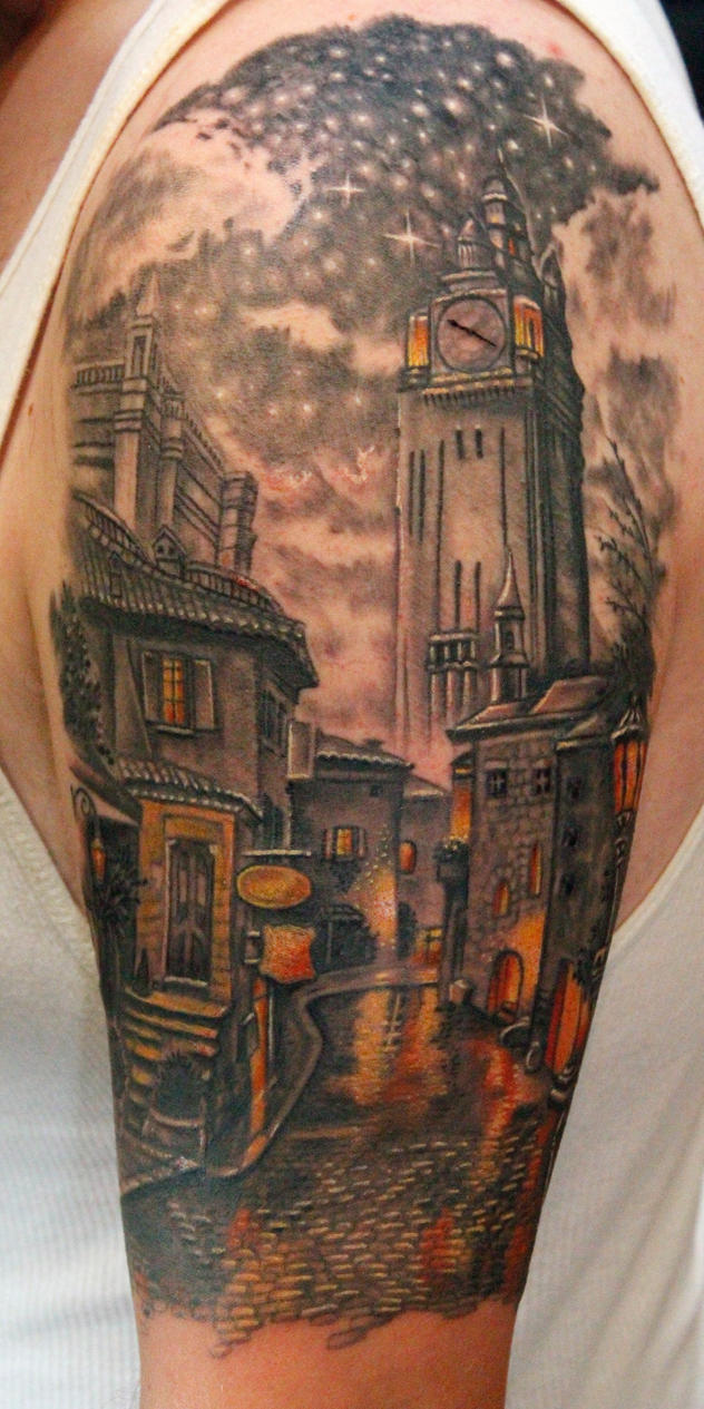 Old town clocktower tattoo by seanspoison on deviantart for Tattoo shops junction city ks