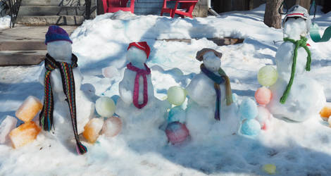 Front Yard Snow Family On The First Day Of Spring by daveshaver