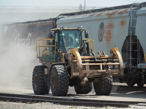 Large Forklift In A Railyard