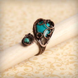 Wire wrapped copper ring - LOVE by VesnaMaric
