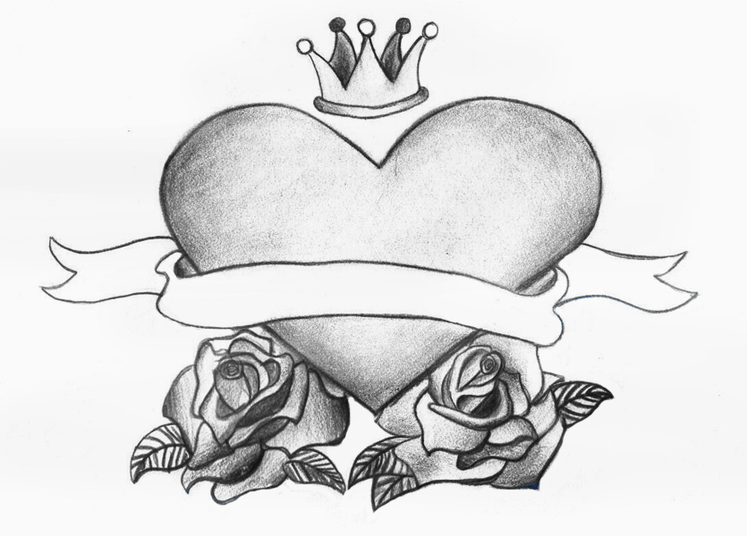 old school heart and roses by shaestattooedheart on deviantart. Black Bedroom Furniture Sets. Home Design Ideas