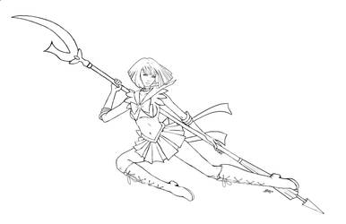 Sailor Saturn - lineart by AerynDiana