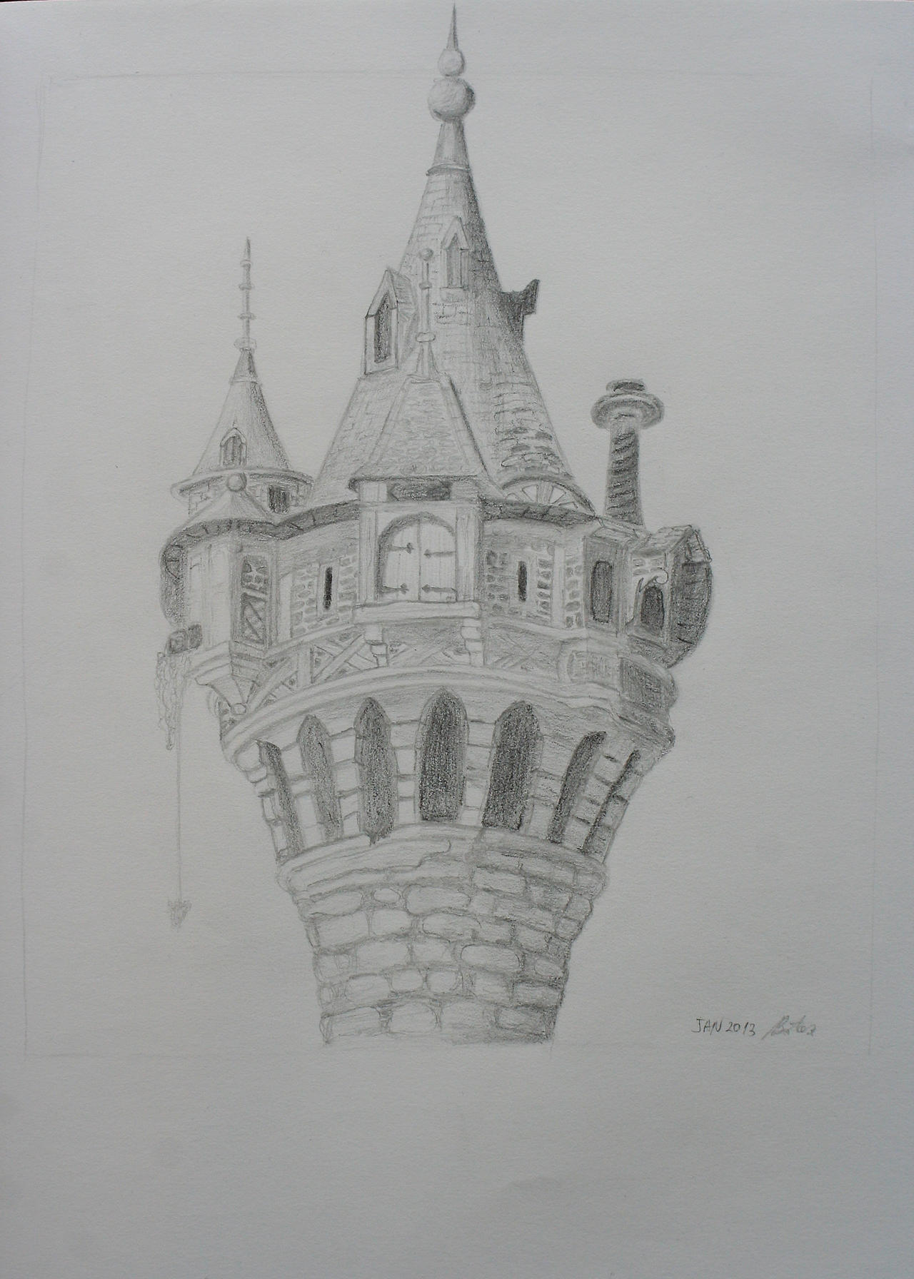 Rapunzel's tower sketch by mirceabotez