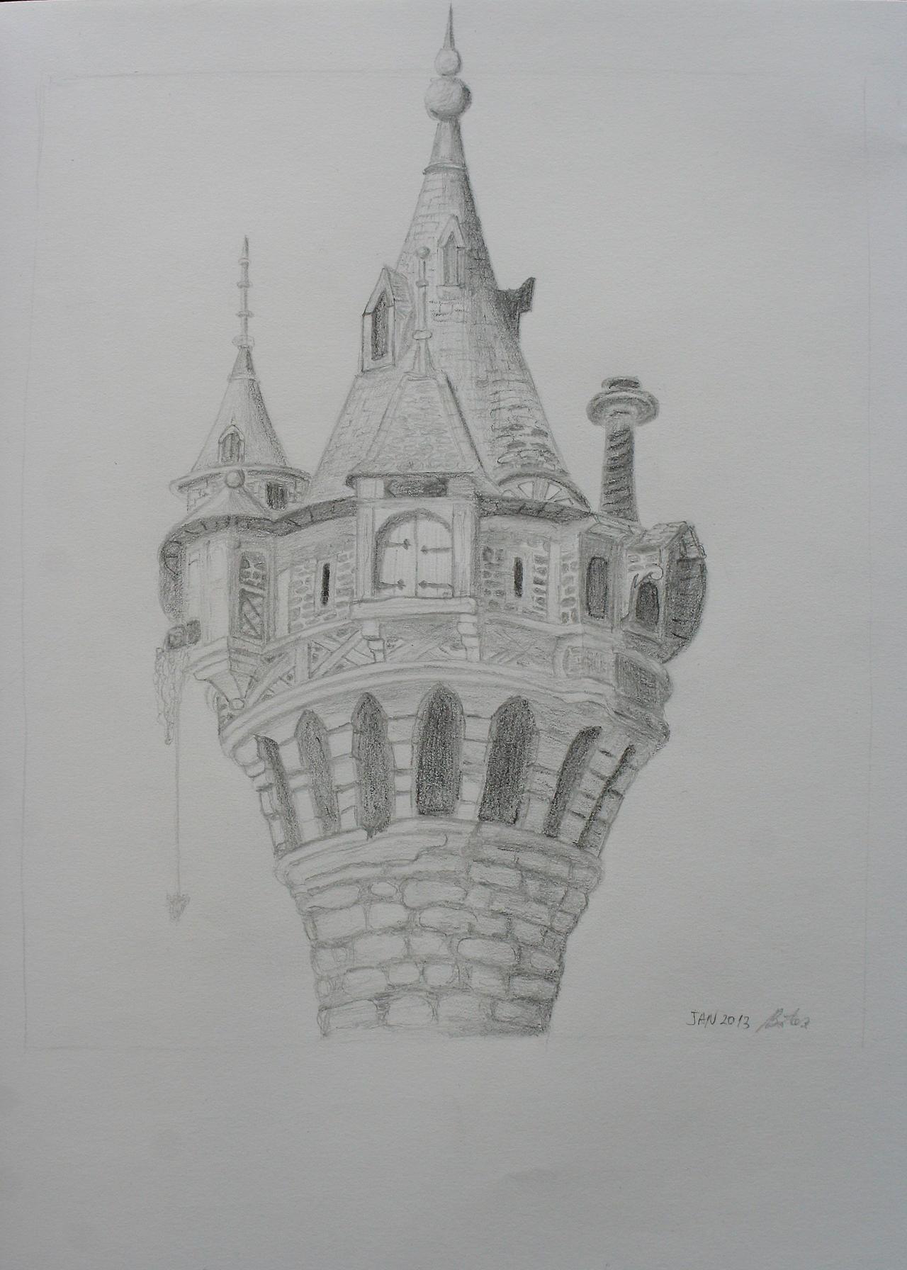 Rapunzel's tower sketch by mirceabotez