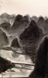 Li River, Yangshuo - Value study, Charcoal