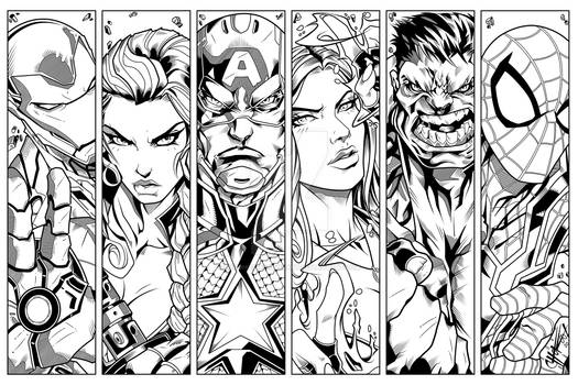 Avengers Character Panels (INKS)