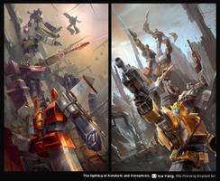 The fighting of Autobots and Decepticon. by iceyang