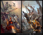 The fighting of Autobots and Decepticon.