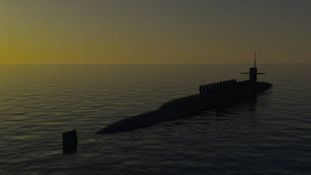 USS Nebraska SSBN 739 Sunset Render