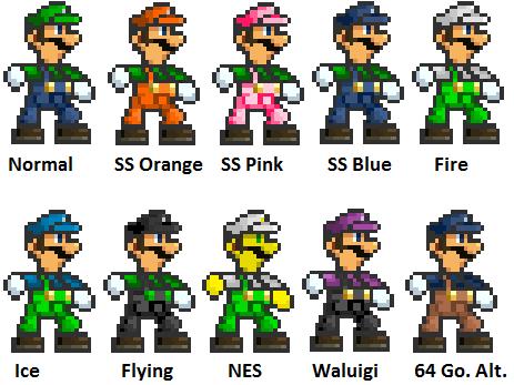 Super Smash Bros. Battle Luigi Alternate Colors by ...