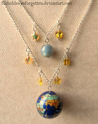 Earth, Moon and Stars Necklace by Forbiddenynforgotten