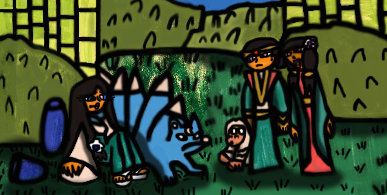 Kaguya meets a prince and princess