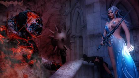 Elvish Goddess vs Fire Troll by FantasyErotic