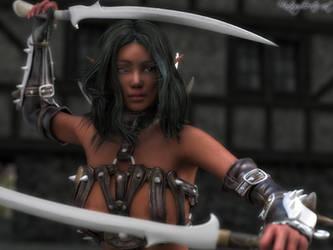Elvish warrior portrait by FantasyErotic