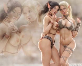 Elves Mylin and  Nia Wallpaper by FantasyErotic