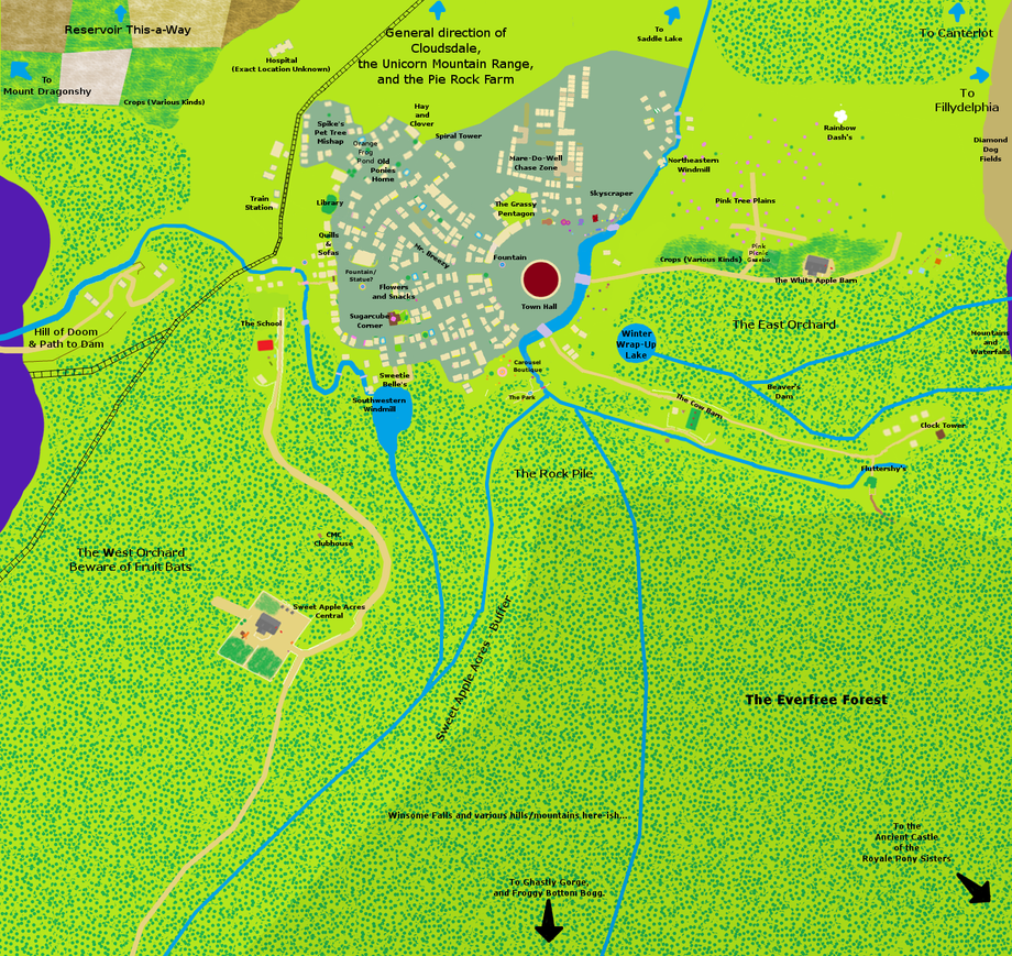 Map Of Ponyville Map of Ponyville   Labeled   v3.2 by Aurek Skyclimber on DeviantArt