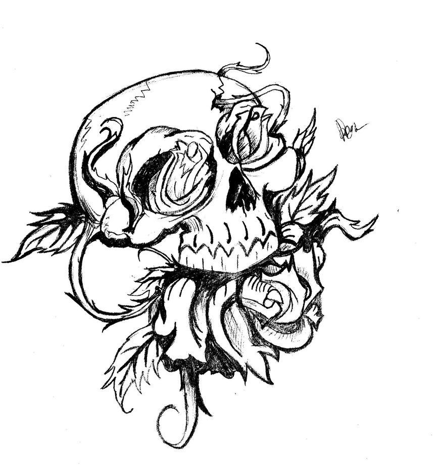 skull roses by maxkill300 on deviantart