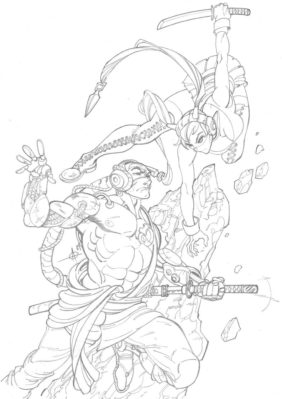 Shwann fight pencils by Alex0wens