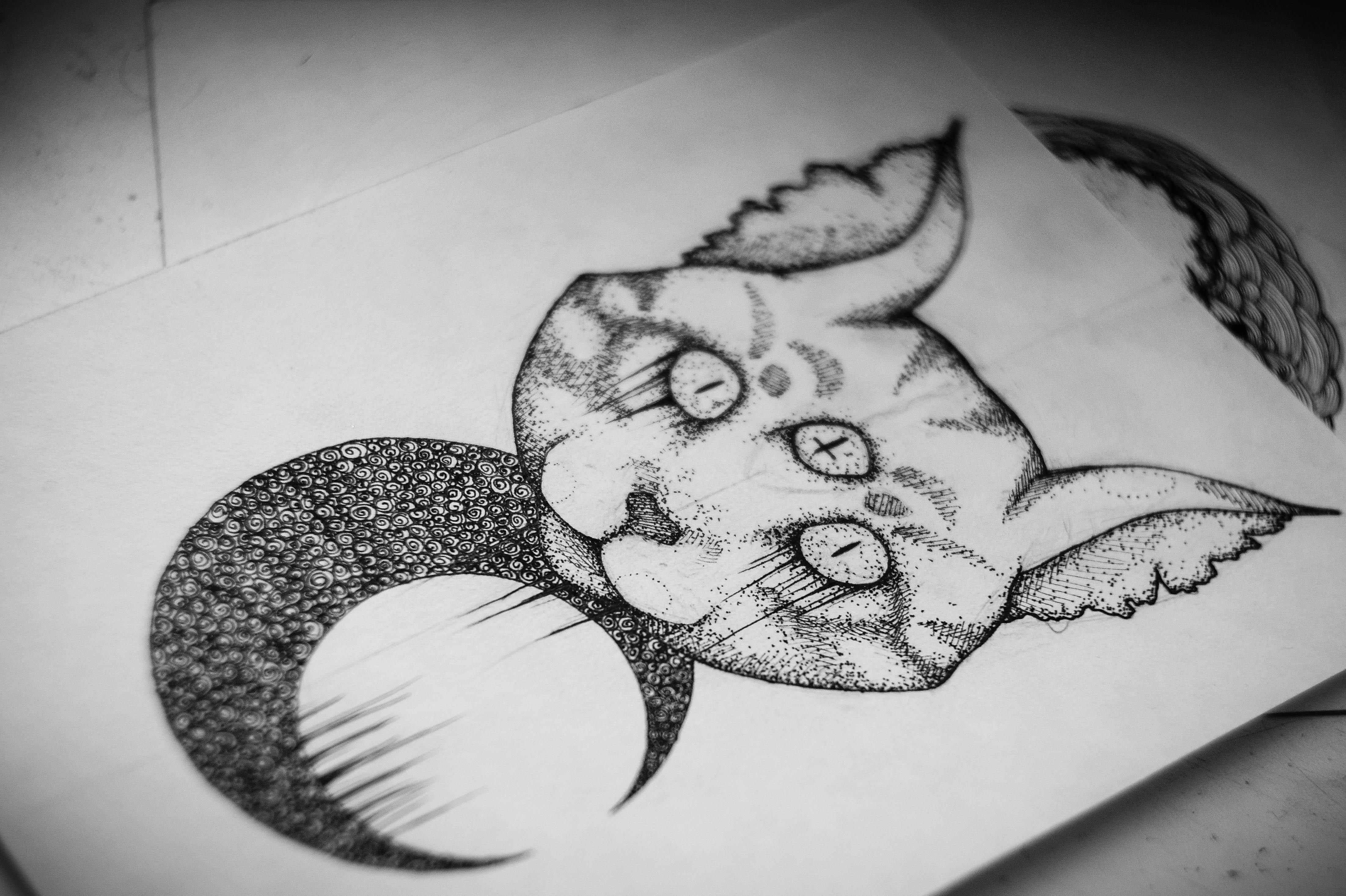 Tattoo art cat satan by askaraya on deviantart for Black and white tattoo artists