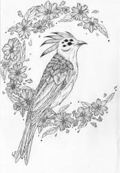 Tattoo |Bird in flowers by Askaraya