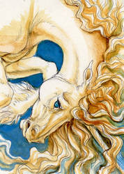unicorn ACEO by hibbary