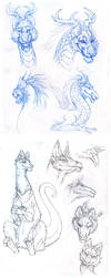 4 pages of strange dragons by hibbary