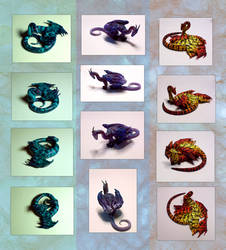 Three new dragon figurines by hibbary