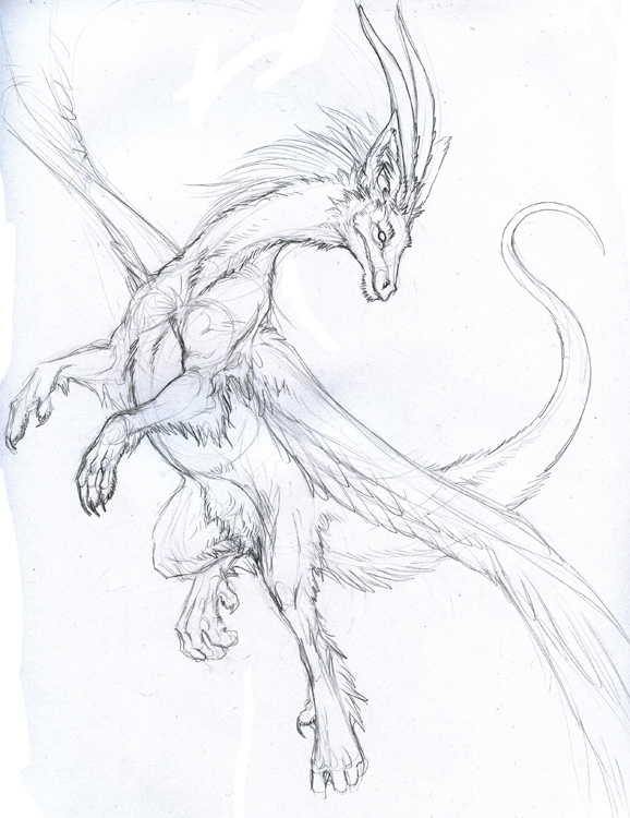 how to draw a dragon in flight