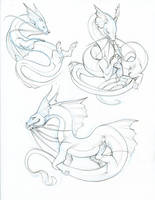 catfish dragon sketches by hibbary