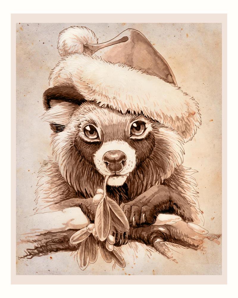 Christmas Tanuki by hibbary