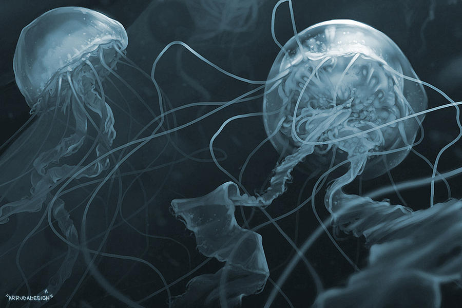 Jellyfish digital painting by arrudadesign on deviantart for Jelly fish painting