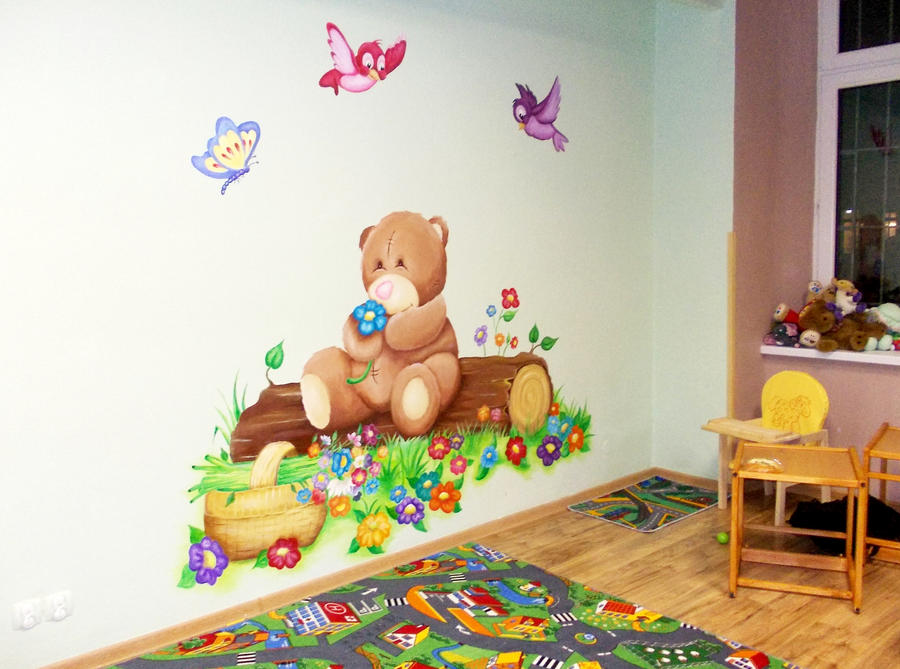 teddy bear wall painting acrylic by nataliaa03 on deviantart. Black Bedroom Furniture Sets. Home Design Ideas