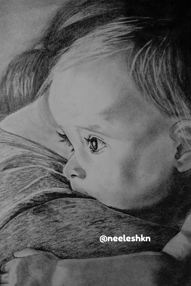 Realistic baby drawing by neeleshkn