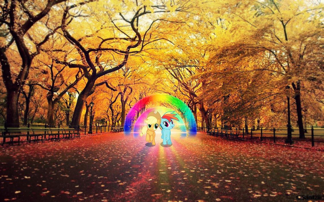 Applejack and Rainbow Dash Wallpaper by Santzii