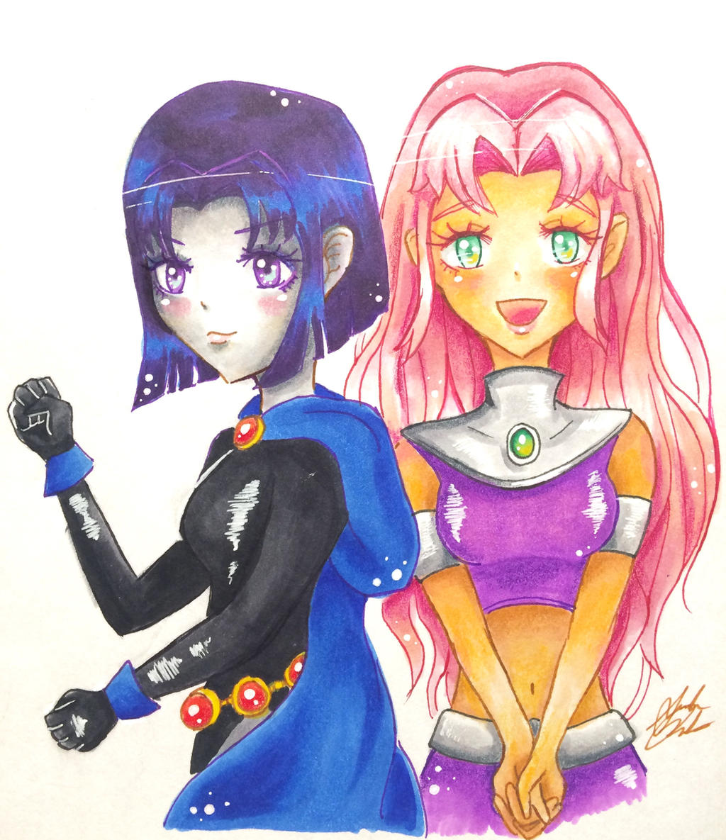 Starfire and Raven Muscles by SB99stuff on DeviantArt