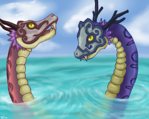 Sea Dragon - Gleeok by LadyNoise