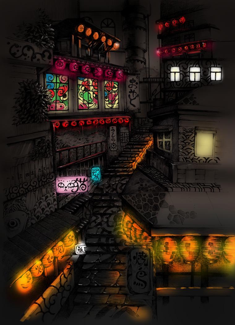 Night town by Kisaragi-Mutsuki