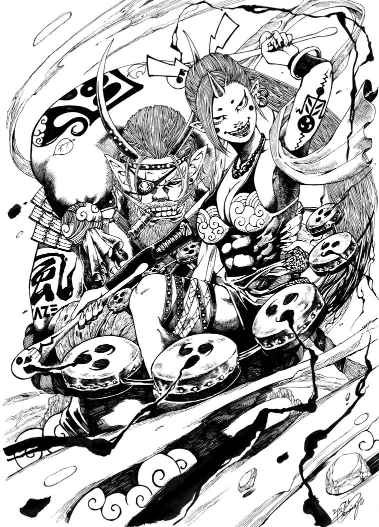 Wind God and Thunder God by Kisaragi-Mutsuki