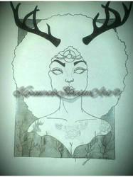 The Elk Eldress (ink) by Karii-la-maravilla