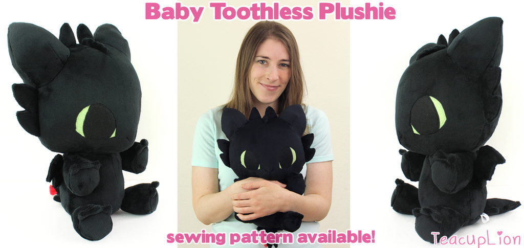 Baby Toothless chibi plushie by TeacupLion