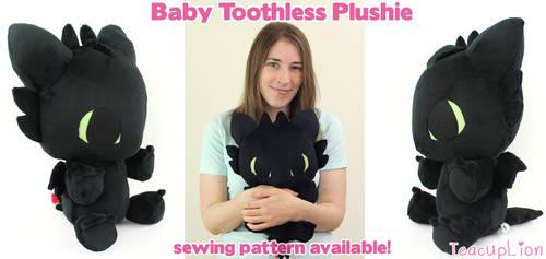 Baby Toothless chibi plushie by TeacupLion