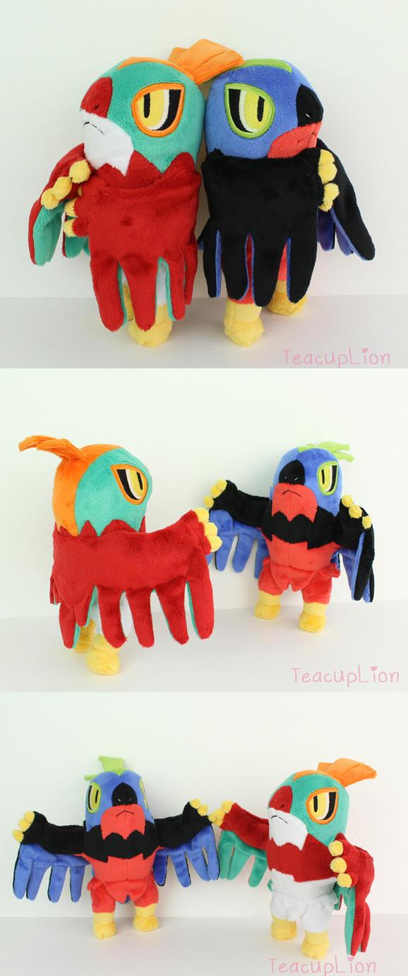 Custom Hawlucha and Shiny Hawlucha plush by TeacupLion